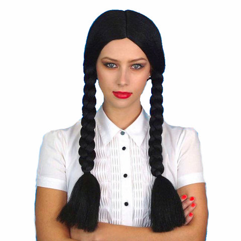 Wednesday Addams Pocahontas Long Black Braids Wig