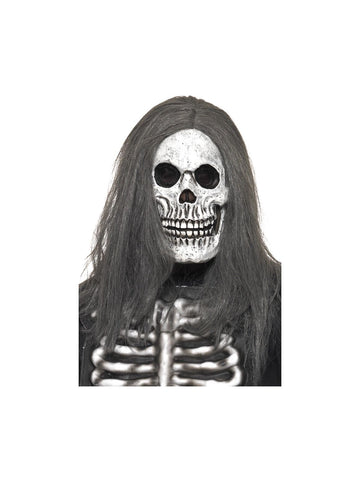Sinister Skeleton Halloween Mask Foam Latex with Hair