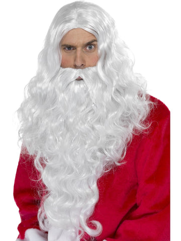 Santa Wig and Beard set Men's Christmas costume accessory Deluxe