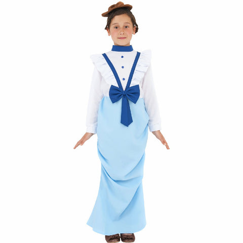Posh Victorian Girl's Fancy Dress Costume with Hat