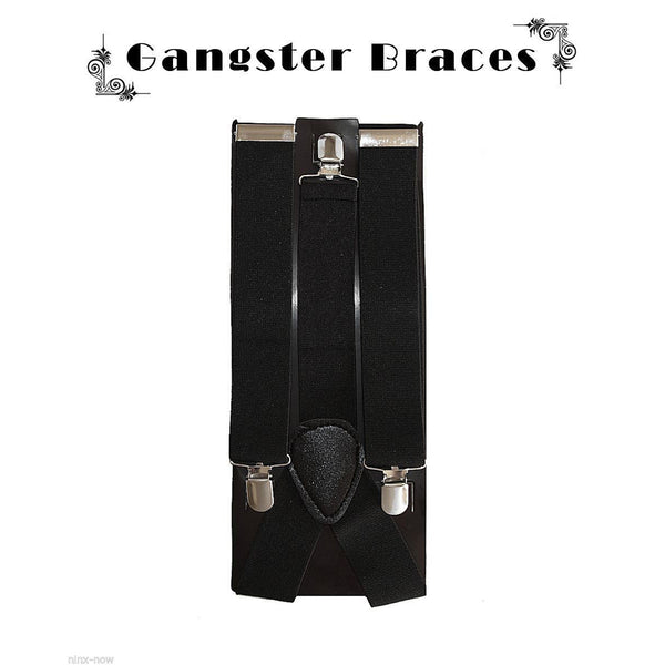 1920's Men's Black Wide Gangster Braces/Suspenders Gatsby