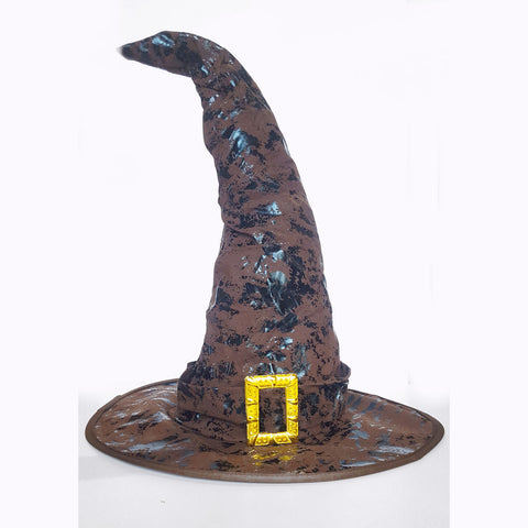 Wizard Witch Hat Brown Faux Leather Hogwarts Sorting Adult Costume Accessory