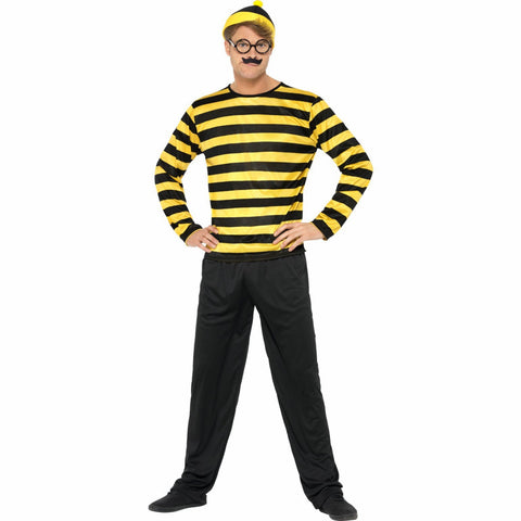 Where's Wally Odlaw Men's Costume with Pants, Top, Hat, Moustache and Glasses