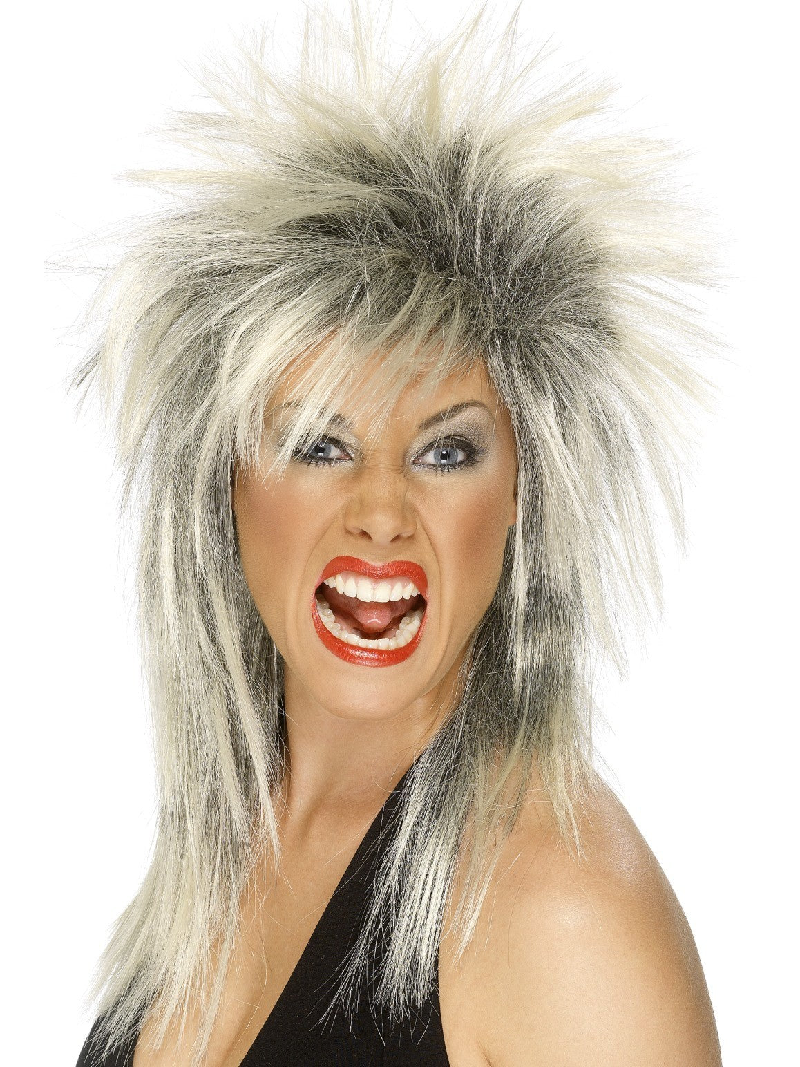 Rock Diva Tina Turner Blonde & Black Long Mullet Women's Costume Wig