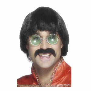 70's Mersey Wig & Tash, Black, Short Styled Men's Costume Fancy Dress Wig