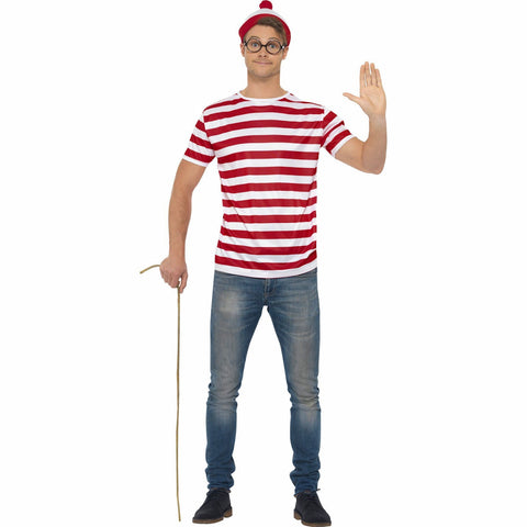 Where's Wally Instant Kit Costume with Red & White Top, Hat,  and Glasses