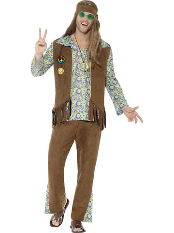 1960s Hippie Men's Complete Costume, with Trousers, Top, Waistcoat