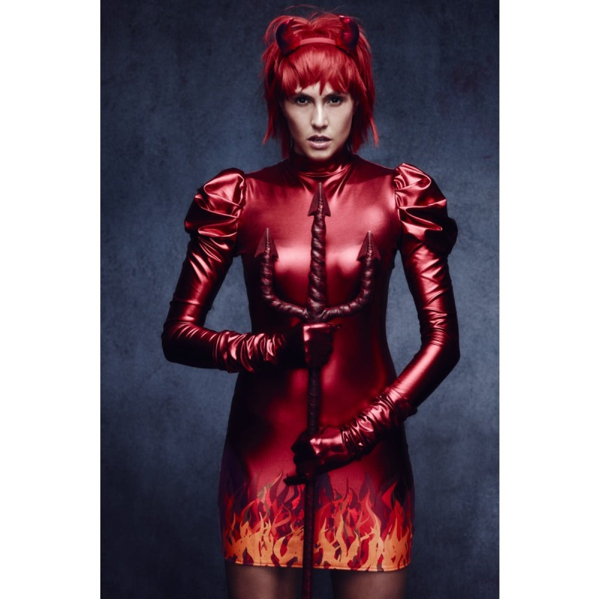 Fever Devil Women's Costume with horns Wet Look Fabric