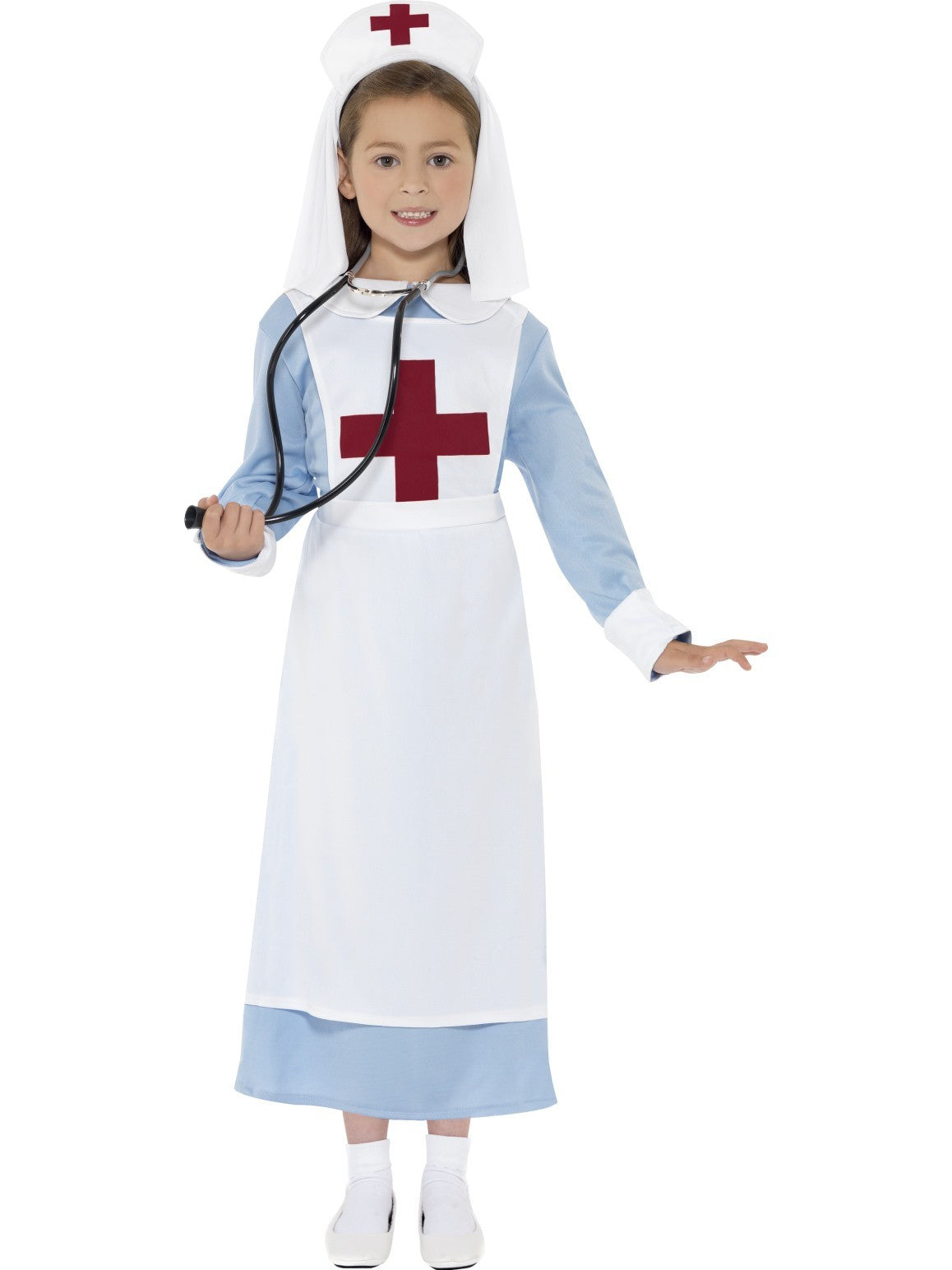 WW1 Nurse Girls Costume with Dress Apron and Headpiece