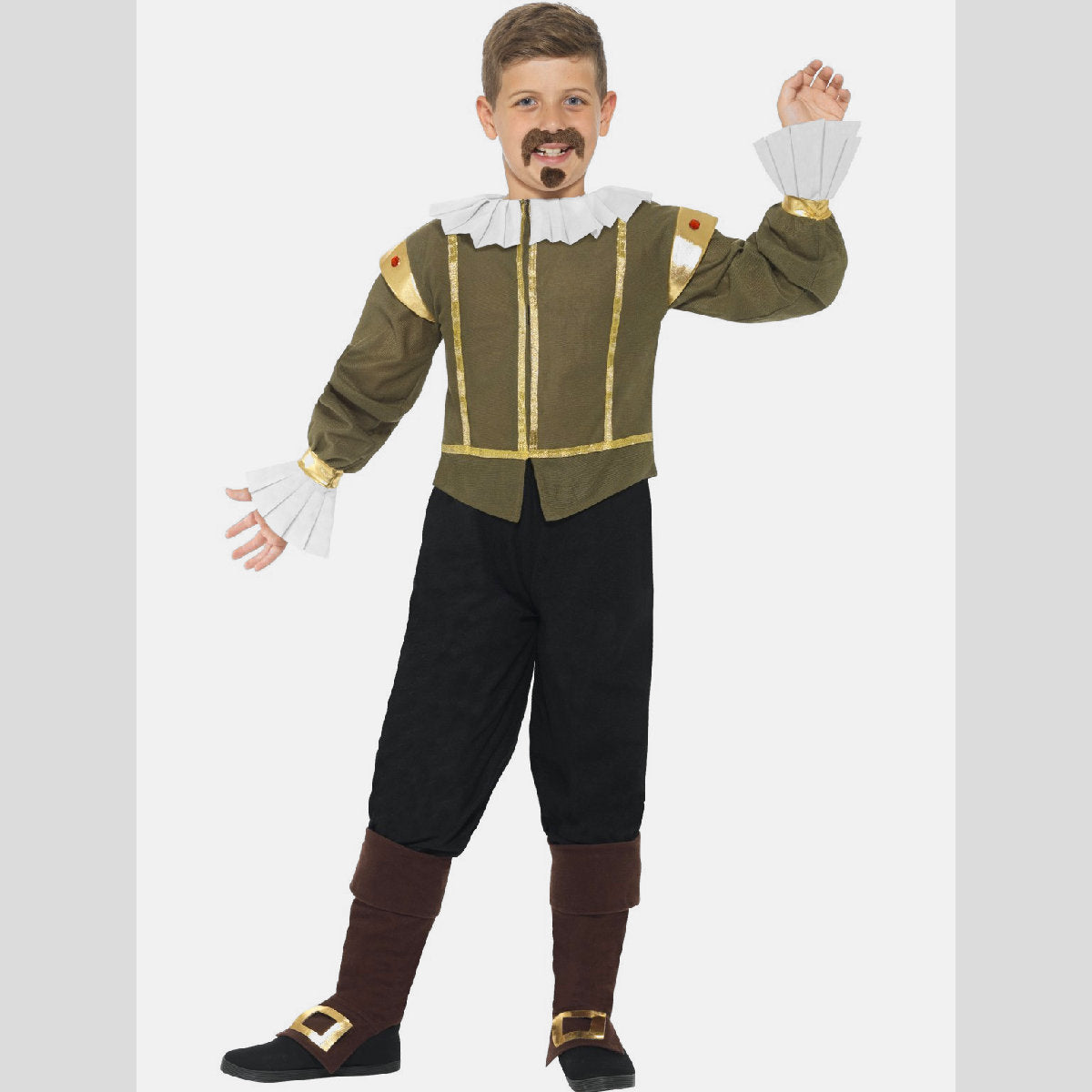 Shakespeare Boys Fancy Dress Costume with Moustache and Goatee