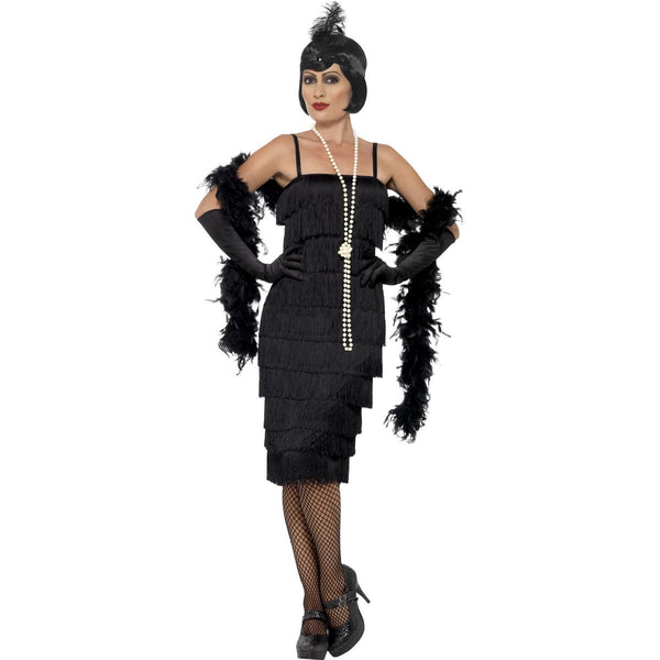 Black Glamour Gatsby Flapper Costume with Gloves and Headpiece