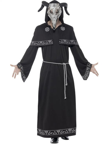 Cult Leader Costume, Black, with Robe, Belt & Latex Overhead Mask