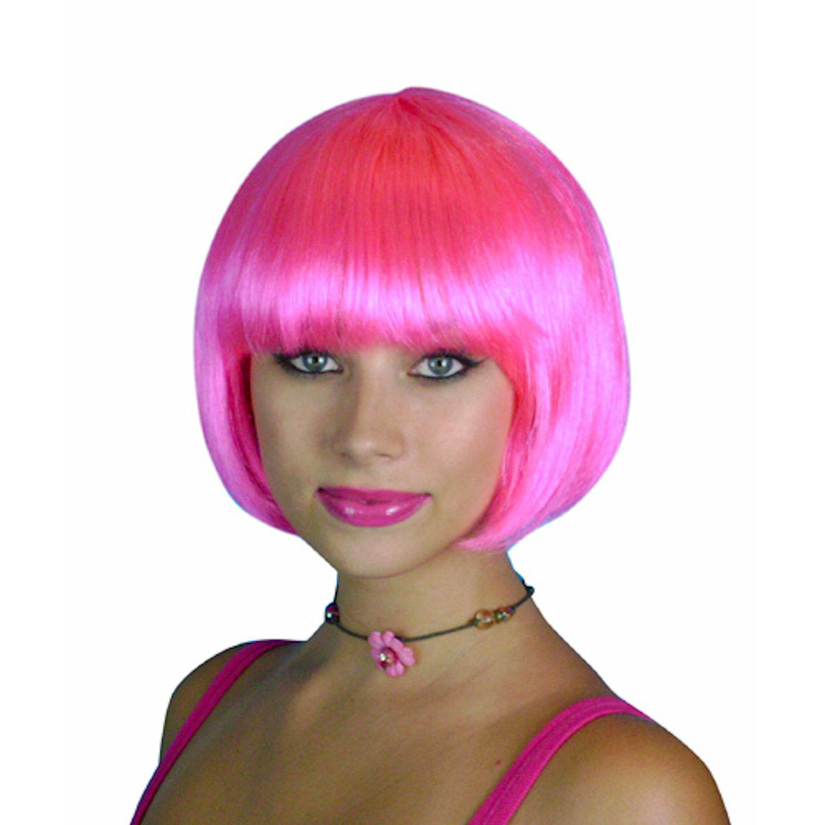 HOT Pink Short Bob Deluxe WIG Festival Fancy Dress Costume Wig