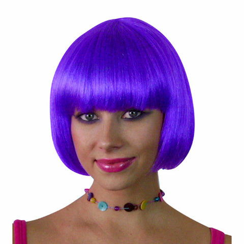 Bright Purple Short Bob Deluxe WIG Fancy Dress Costume Wig