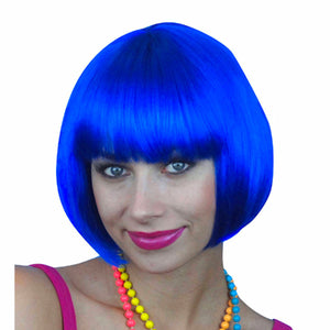 Royal Blue Short Bob Deluxe WIG Fancy Dress Costume Wig