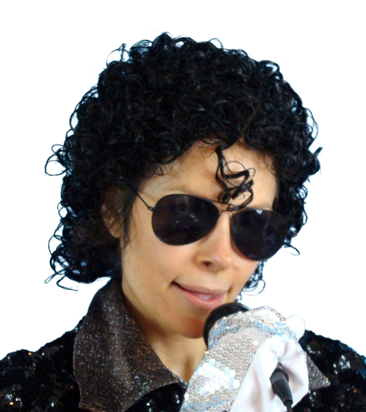 1980's Michael Jackson Wig Short Gel Curls Black Wig