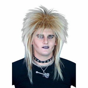 1980's Punk Rockstar Mullet Blonde Fancy Dress Costume Wig