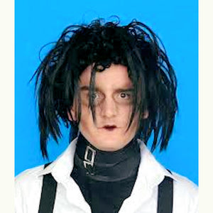 Edward Scissorhands Black Goth Men's Fancy Dress Costume Wig