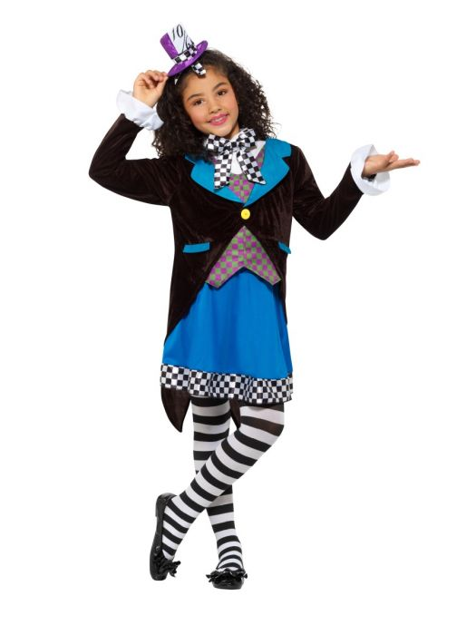 Little Miss Hatter Girls Costume with Hat Book Week