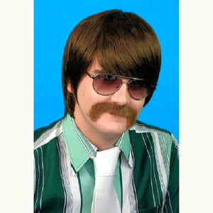 60's and 70's Mod Guy Brown Men's Costume Wig