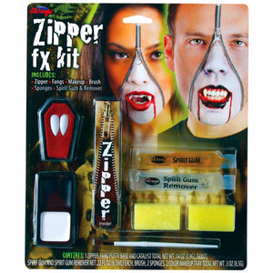 Horror Zipper Face Vampire Dracula Deluxe Makeup FX Kit Halloween Accessory