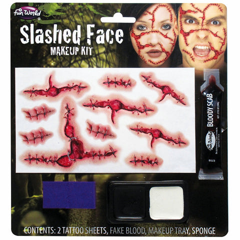 Slashed Face Temporary Tattoo and Bloody Scab Make up Kit Set Halloween Zombie