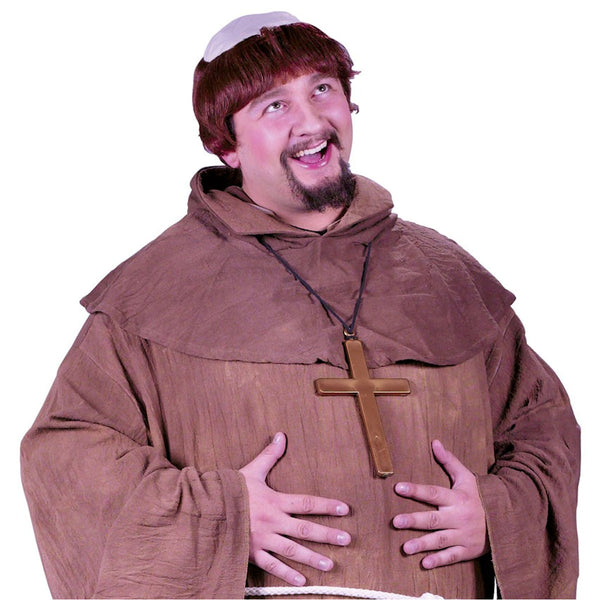 Plus Size Medieval Monk Priest Men's Costume with Wig