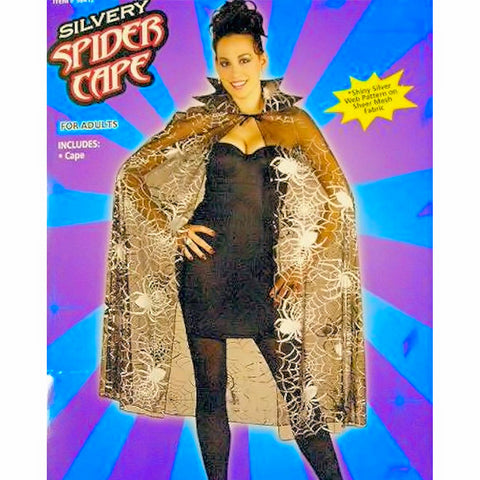 CAPE Sheer with Shiny Silvery Spider Web Pattern Adult
