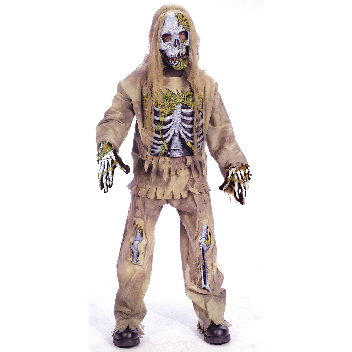 3D Skeleton Zombie Deluxe Boy's Halloween Costume with Mask