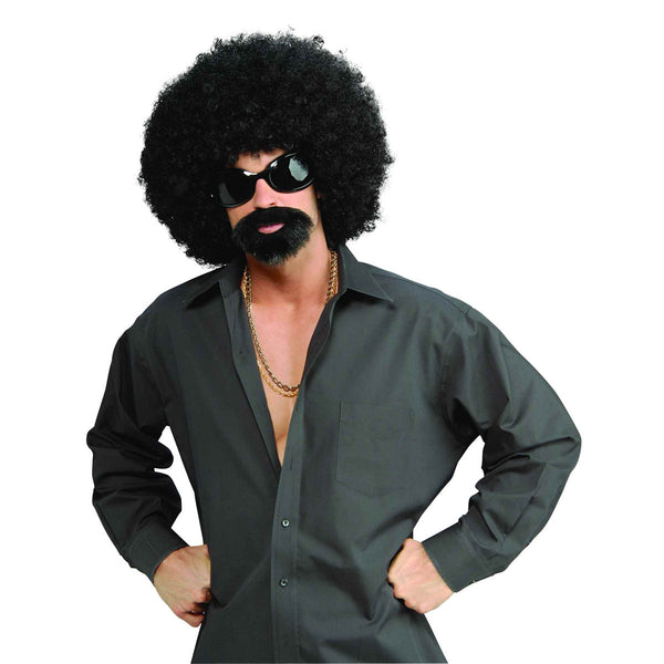 70's Afro Man Instant Costume Kit Wig with Glasses and beard/moustache