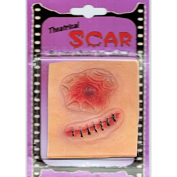 Open Wound & Stitch Latex Zombie Horror Scar Makeup Special FX Costume accessory