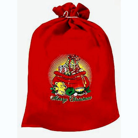 Santa's SACK Large Toy Bags Red Polyfelt with Decoration size 54cm X 81cm