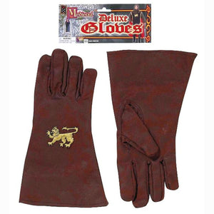 Medieval Knight King Arthur Men's Gloves Brown Faux Suede Fancy Dress Costume