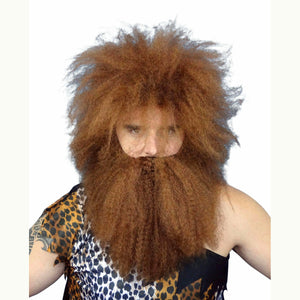 Men's Caveman Wig & Beard Set Brown Crimped Hair DELUXE