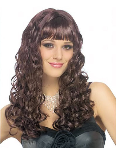 Long Dark Curls Wig Womn's Fancy Dress Costume Wig