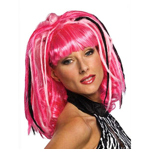 PINK Punk Rocker Women's Fancy Dress Costume Party WIG