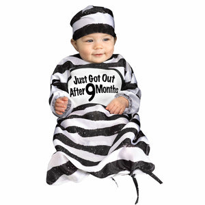 8ae8a409d5f00 Time Out Tot Baby Child Infant Convict Fancy Dress Costume fits to 6 to 9  months