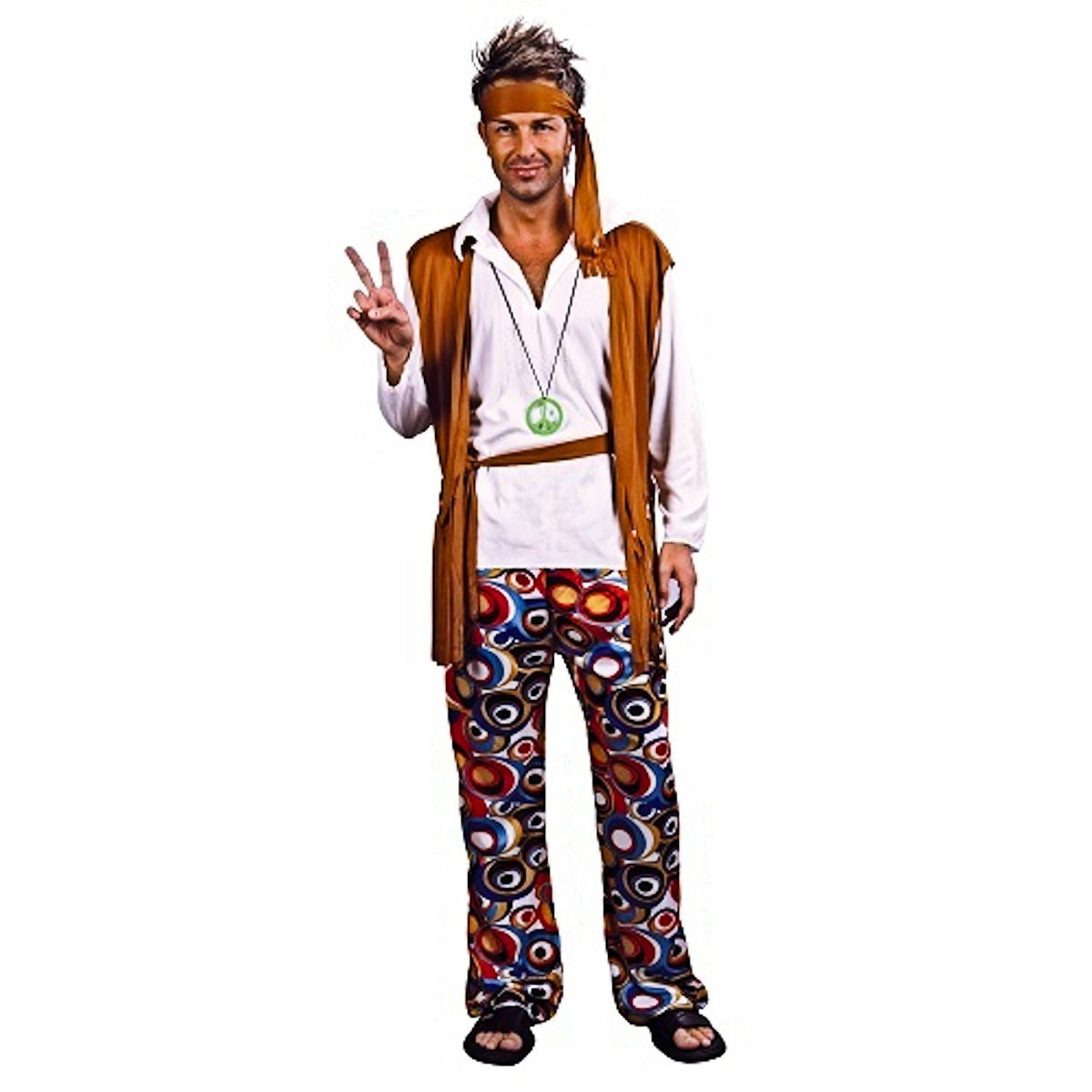 60's & 70's Hippie Groovie Men's Fancy Dress Costume Flower Power