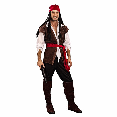 Cool Pirate Buccaneer Mens Fancy Dress Complete Costume Deluxe Quality