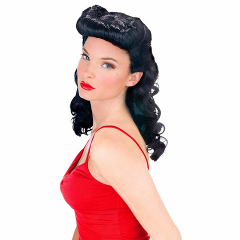 Burlesque Beauty Women's Dark Hair Bettie Page Fancy Dress Costume Wig