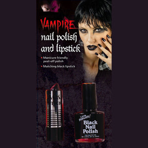 Goth Black Lipstick and Nail Polish Set Zombie Vampire Halloween Makeup