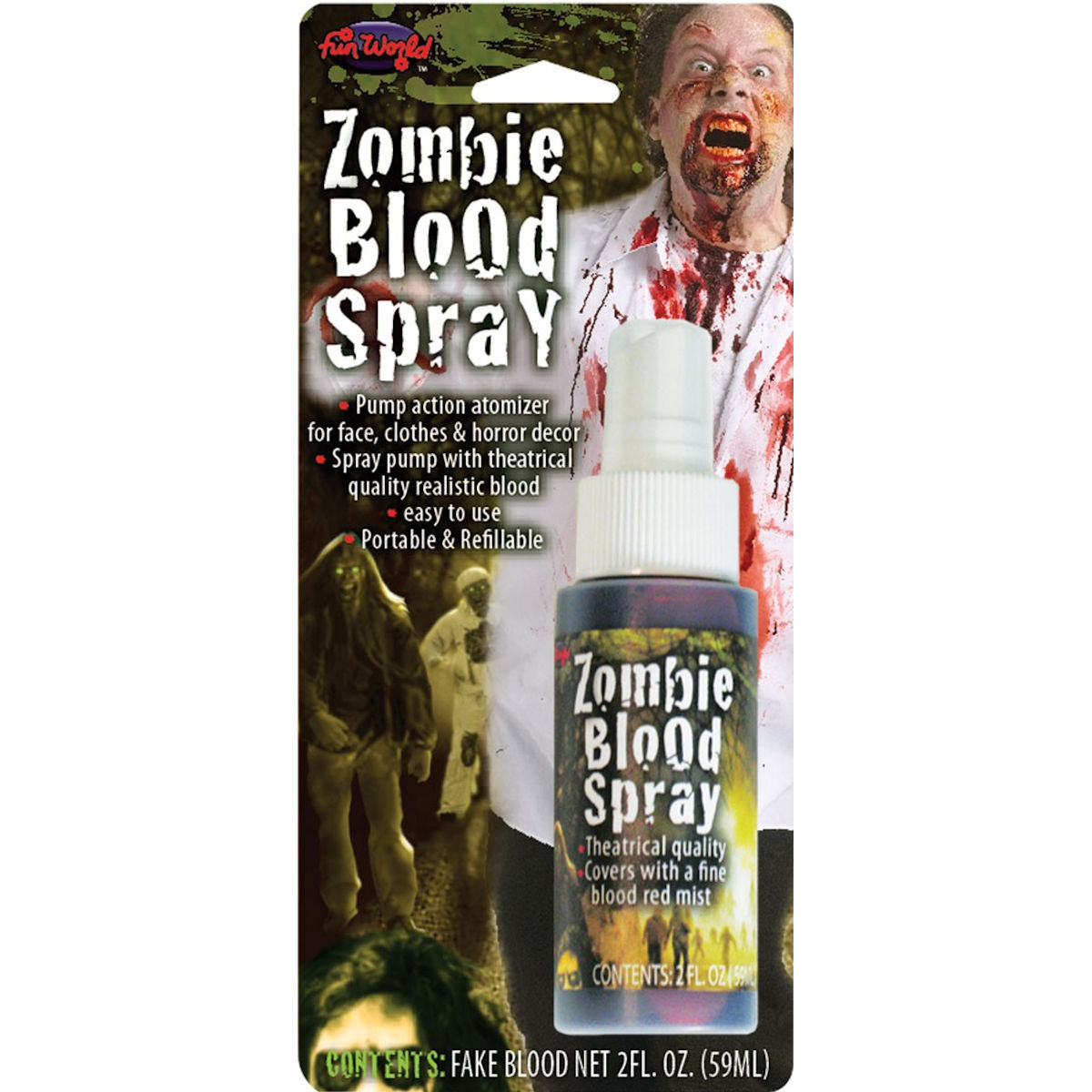 Zombie Red Fake Blood Splatter Spray 59ml Theatrical Halloween Makeup Special FX