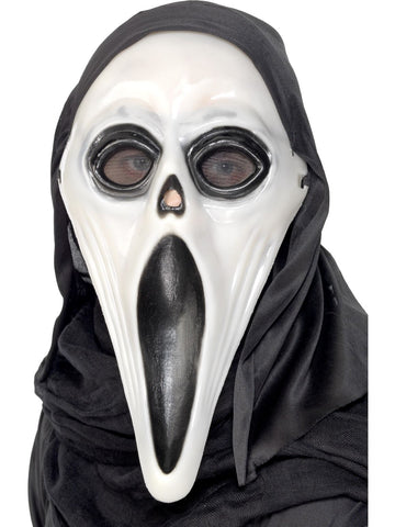 Glow in the Dark Screamer Mask, Black & White, with Hood Halloween Mask