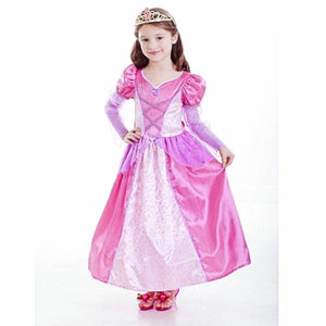 Deluxe Rose Princess Girls Fancy Dress Costume with hooped skirt and gems
