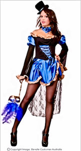 Blue Burlesque Women Fancy Dress Costume Satin & lace