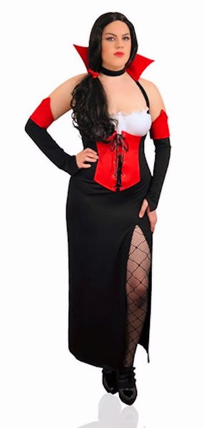 Gothic Vampire Mistress Plus Size Fancy Dress Womens Costume