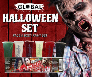 Halloween Makeup Kit Face & Body Liquid Paint Set 6 colours 180ml Global Colours