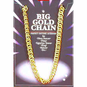 Big Daddy Rapper Pimp King Disco Chunky Gold Chain 100cm fancy dress costume