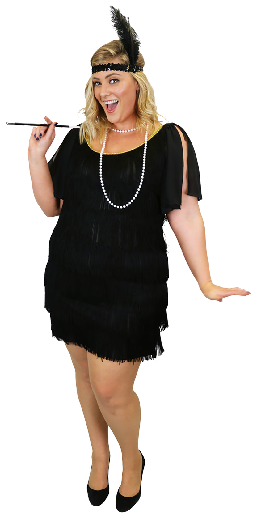 1920's Plus Size Flapper Women's Costume Black Gatsby Tassel