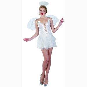Snow Angel White Fairy Womens Fancy Dress Costume with Wings & Halo